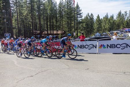 Amgen, Tour of California, SOUTH LAKE TAHOE, CA –May 13, 2019: Racers making their way to the Amgen, Tour of California 2019 race finish line in South Lake Tahoe, California.