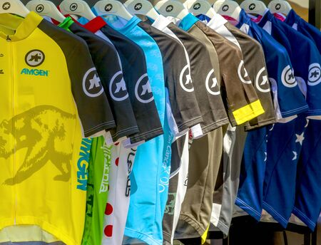 Amgen, Tour of California, SACRAMENTO, CA –May 12, 2019: Amgen, Tour of California race 2019 race jerseys.