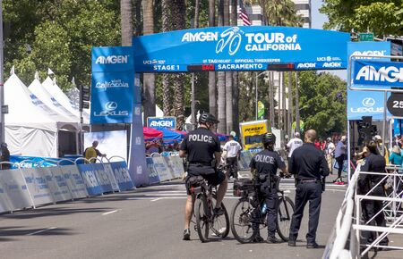 Amgen, Tour of California, SACRAMENTO, CA –May 12, 2019: Heavy security from state and local resources were deployed for the Amgen, Tour of California 2019 bike race.
