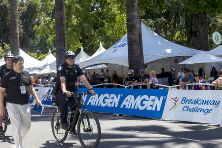 Amgen, Tour of California, SACRAMENTO, CA –May 12, 2019: Heavy security from state and local resources were deployed for the Amgen, Tour of California 2019 bike race. Editorial