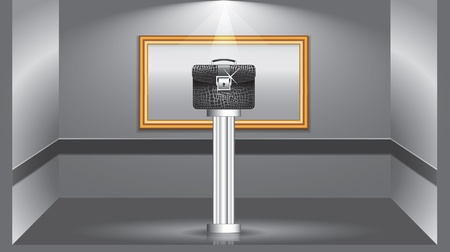 dark room: The art of business concept illustration. Black leather briefcase exhibited in the art gallery
