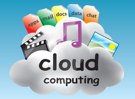 somewhere: Cloud computing concept based on the idea of the abstract location of data and abstract computing somewhere in the clouds Illustration