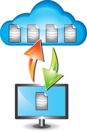 overdracht: Stijlvolle cloud computing concept met cloud en desktop computer Stock Illustratie