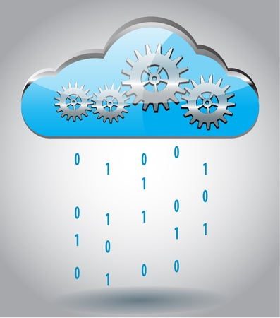 Cloud computing concept vector illustration with gears and binary rain Vector