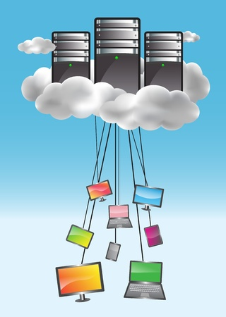 Cloud computing concept with data servers and connected computers, netbooks, smartphones, netbooks. Colorful illustration Çizim
