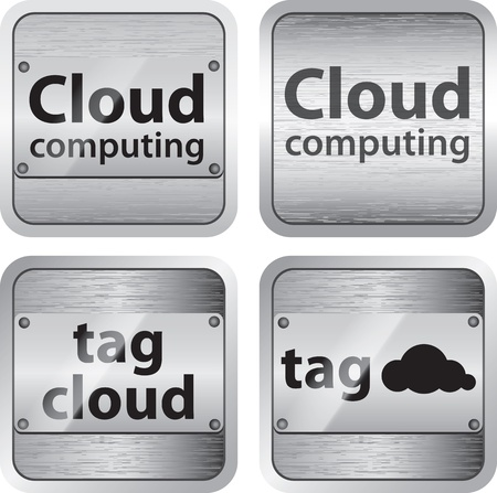 Set of cloud computing and tag cloud buttons Illustration