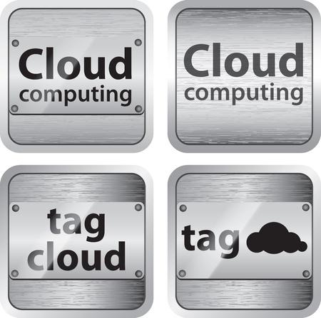 Set of cloud computing and tag cloud buttons Ilustração
