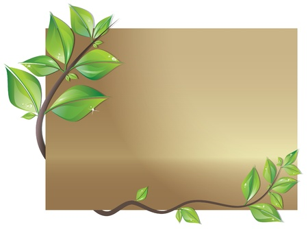 Beautiful card decorated with branch of fresh leaves Vector