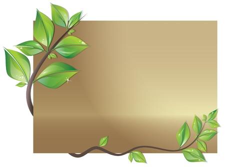 earth friendly: Hermosa tarjeta decorada con ramas de hojas frescas Vectores