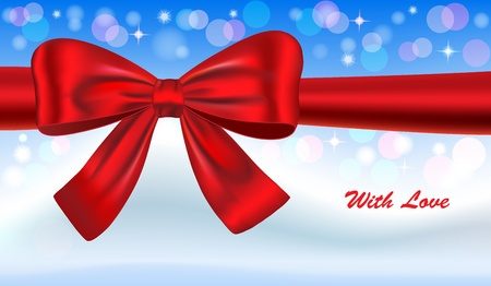 Gift card with red ribbon and winter landscape. Vector illustration Vector