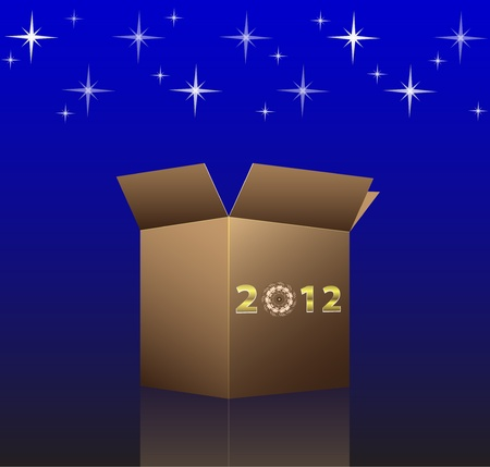 New Year and Christmas card with 2012 open box. illustration Vector