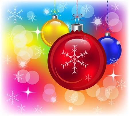 the miracle: Abstract colorful background with Christmas balls, lights and snow. illustration
