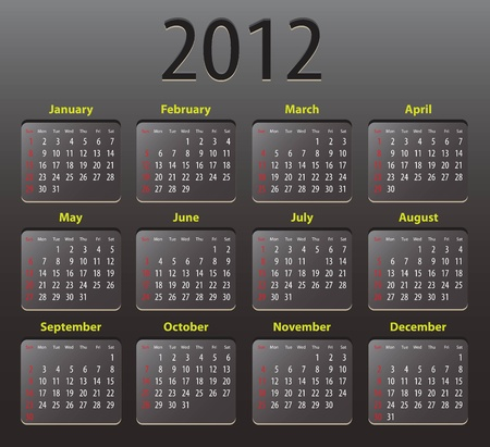 Black calendar for 2012. illustration Vector