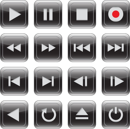video player: Multimedia control glossy iconbutton set for web, applications, electronic and press media