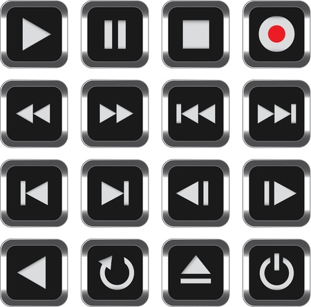 pause button: Black multimedia control icon set. illustration