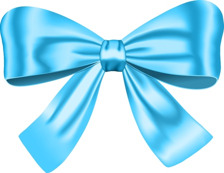Blue gift bow for decorating gifts and cards. Ribbon. illustration
