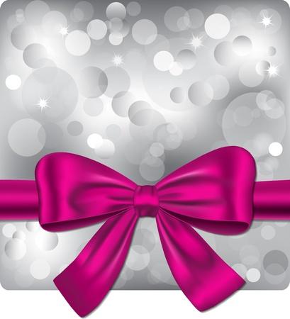 knotting: Bokeh di fondo argento con nastro rosa. Gift card. illustrazione