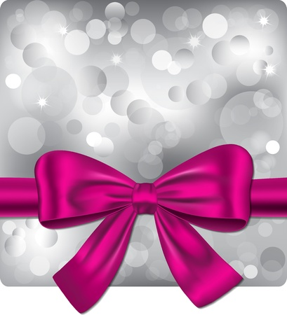 Bokeh silver background with pink ribbon. Gift card. illustration  Vector