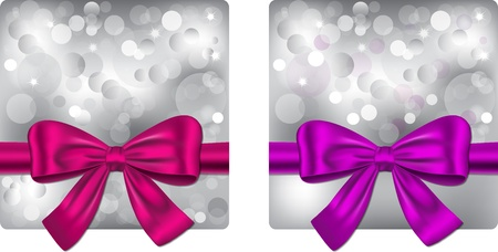 Christmas backgrounds with violet and pink ribbon. Gift cards. illustrations Vector