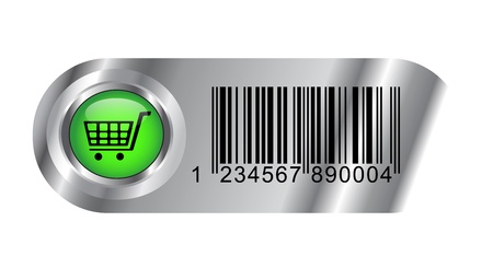 Buy metallic buttonicon with bar code and cart for web applications Ilustrace