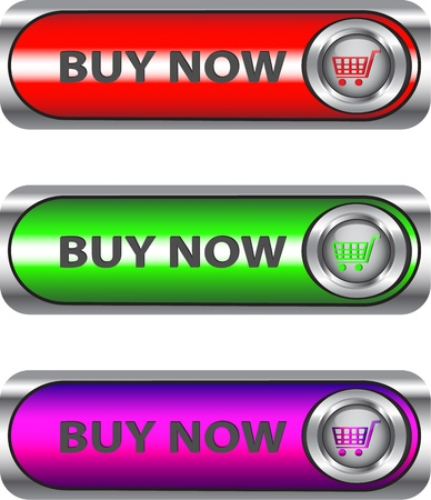 buy now: Buy Now metallic buttonicon set for web applications.