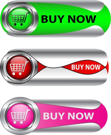 chrome cart: Buy Now metallic buttonicon set for web applications Illustration