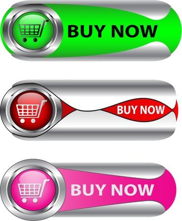 Nu kopen metallic knop / icon set voor webapplicaties