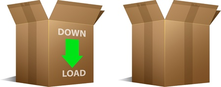 Pair of Download icon and blank cardboard boxes