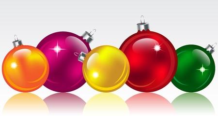 Christmas colorful glossy ballsbubbles. illustration Illustration