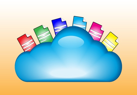 Cloud computing concept with documents in the cloud Vector
