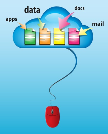 Cloud computing concept with glossy cloud, computer mouse and different type of docs. illustration Vector