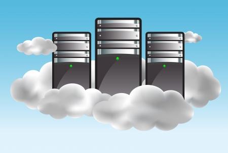 server: Concetto di cloud computing con i server tra le nuvole. illustrazione Vettoriali