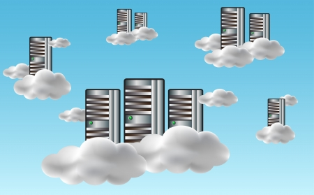 Cloud computing concept with servers in the clouds. illustration Vector
