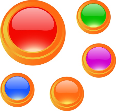 usage: Colorful glossy blank button set for web and print usage
