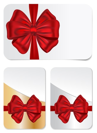 set of blank gift cards with red bows for celebrations Vector