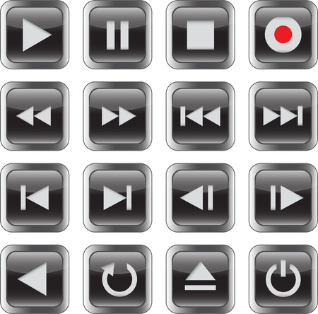 Black glossy multimedia control icon set. illustration Vector