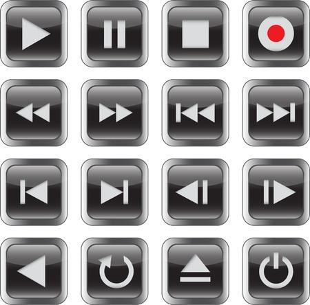 Black glossy multimedia control icon set. illustration
