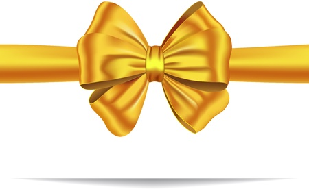 Golden ribbon with luxurious bow. Gift card. illustration Stock Vector - 12367902