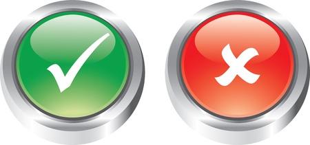 incorrecto: Buen conjunto de iconos de botones brillantes poitive y negativos