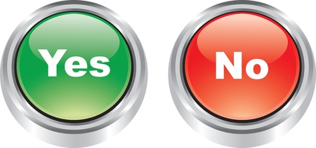 Nice set of glossy icons of poitive and negative buttons