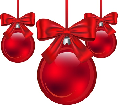 Red Christmas baubles with bows isolated on white background. illustration Illustration