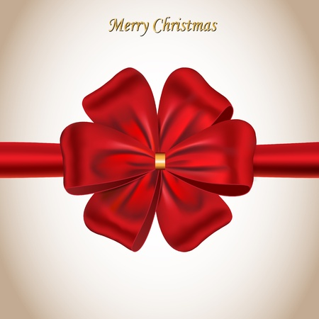 Merry Christmas card decorated with a red satin bow. Ribbon.