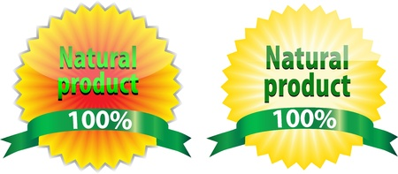 Two labels of 100% Natural Product like sunflower and sun Vector