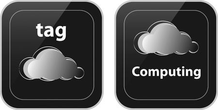 Pair of cloud tag and cloud computing buttons Stock Vector - 12367804