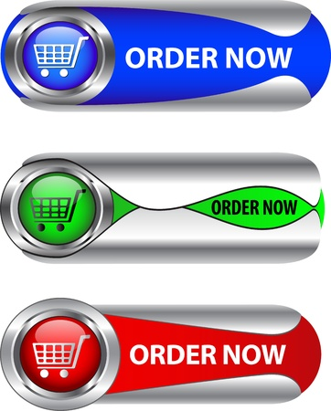 chrome cart: Metallic order now buttonicon set for web applications.  Illustration