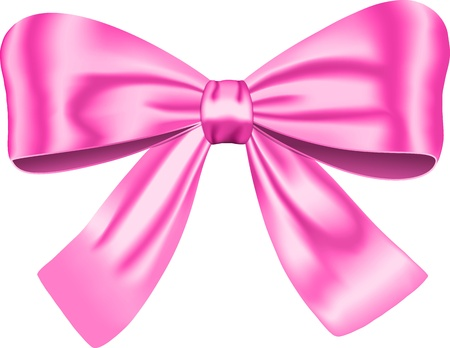 pink satin: Pink gift bow isolated on white background. illustration. Ribbon