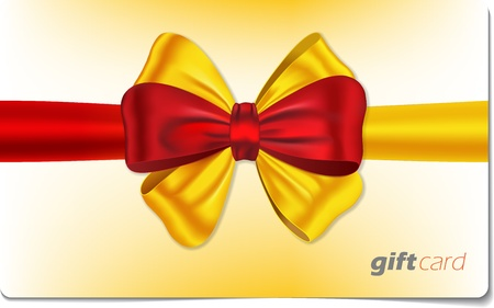 Gift card with red and yellow ribbon and bow. illustration Vector