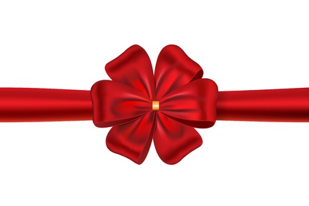 Red satin ribbon with a flower bow for gift box or card. illustration Stock Vector - 12367907