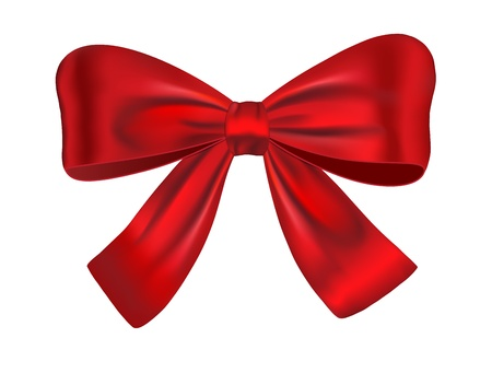 knotted: Red satin gift bow isolated on white backgroud. Ribbon. illustration Illustration