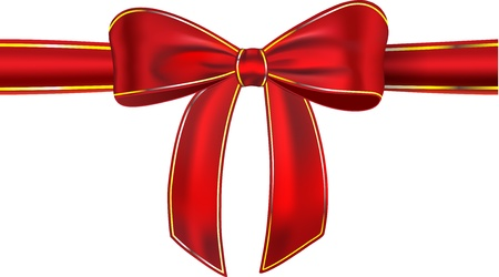 Red satin ribbon with bow isolated on white background. Gift. illustration Vector